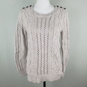 LOFT Knit Sweater Long Sleeve Cotton Wool Blend